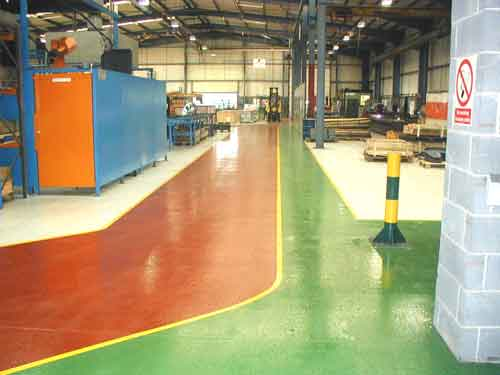 Warehouse Floor Painting Pedestrian and Forklift Routes